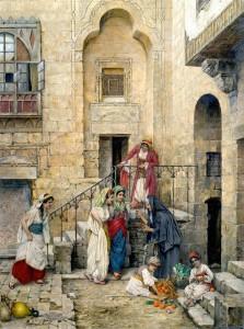 رسم الفنان النمساوي دانيال إسرائيل 1859-1901 فتيات الحريم في باحة القصر - القاهرة 1885