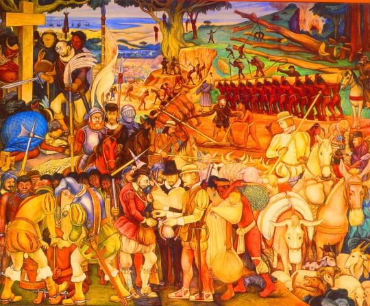 لوحة تُلَخِّصُ مُعاناة شعوب أمريكا اللاتينية في حقبة الإحتلال الإسباني